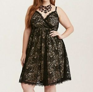 Black and Nude lace skater dress by Torrid Size 2x